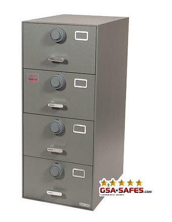 7110-01-614-5383 Multi Lock GSA Approved Class 6, 4 Drawer Filing Cabinet, Legal Size w/ S&G 2740 Locks