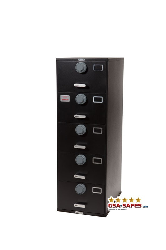 7110-01-614-5411 GSA Approved Class 6, 5 Drawer Filing Cabinet, Letter Size w/ S&G 2740B Locks