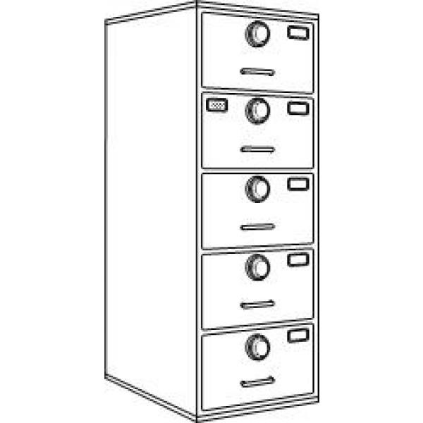7110-01-029-8058 | Class 6, 5 Drawer Multi-lock file cabinet, Parchment