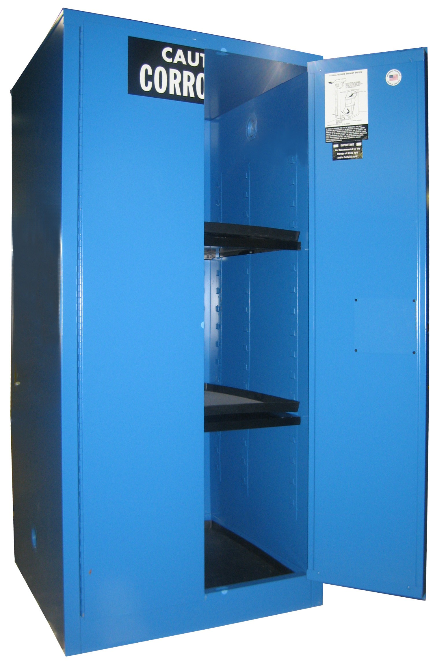 C160 - Acid/Corrosive Storage Cabinet - 60 Gal. Self-Latch Standard 2-Door