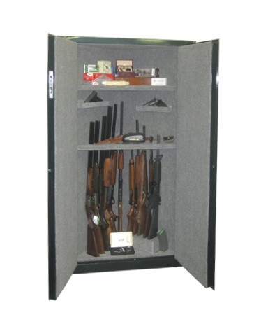 Corner 11 Gun 2 Shelf - 11 Gun Cabinet w/ Digital Lock. Carpet-lined