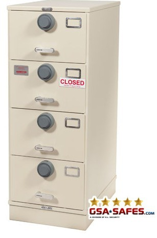 7110-01-614-5394 Multi Lock GSA Approved Class 6, 4 Drawer Filing Cabinet, Legal Size w/ S&G 2740 Locks