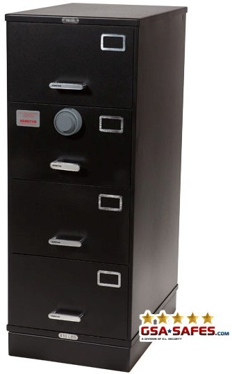 7110-01-614-5434 | Class 5, 4 Drawer SIngle Lock File Cabinet, Black
