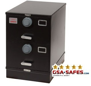 7110-01-614-5410 GSA Approved Class 6, 2 Drawer Multi-Lock Filing Cabinet, Letter Size w/ S&G 2740B Lock
