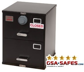 7110-01-614-5422 | Class 5, Two Drawer Single Lock File Cabinet, Black
