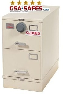 7110-01-614-5433 GSA Approved Class 6, 2 Drawer Filing Cabinet, Legal Size w/ S&G 2740B Lock, Parchment