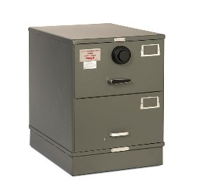 7110-00-082-6111-WPN | Class 5, Two Drawer Single Lock File Cabinet, Gray - Weapons Storage