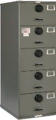 7110-01-029-0389 | Class 6, 5 Drawer Multi-lock file cabinet, Gray
