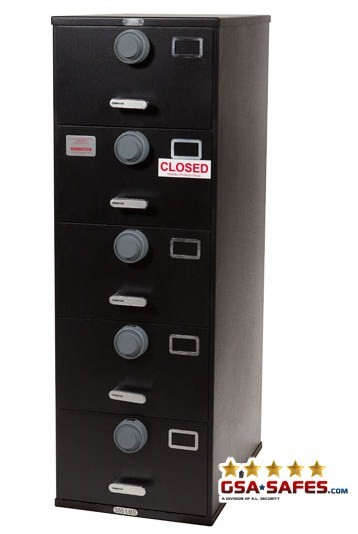 7110-01-029-8059 | Class 6, 5 Drawer Multi-lock file cabinet, Black