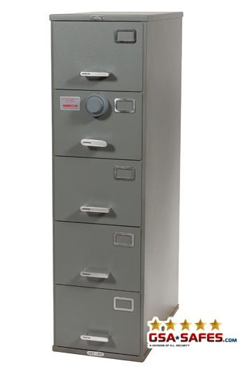 7110-01-614-5395 GSA Approved Class 6, 5 Drawer Filing Cabinet, Legal Size w/ S&G 2740B Lock
