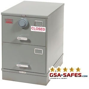7110-00-082-6111 | Class 5, Two Drawer Single Lock File Cabinet, Gray