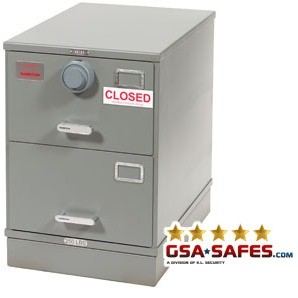 7110-01-614-5420 | Class 5, Two Drawer Single Lock File Cabinet, Gray
