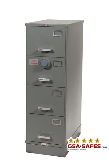 7110-00-920-9343 | Class 6, 4 Drawer GSA Approved File Cabinet w/ X-10 Lock, Gray
