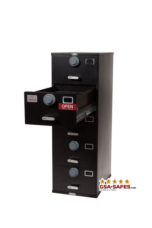 7110-01-614-5379 Multi Lock GSA Approved Class 6, 4 Drawer Filing Cabinet, Legal Size w/ S&G 2740 Locks