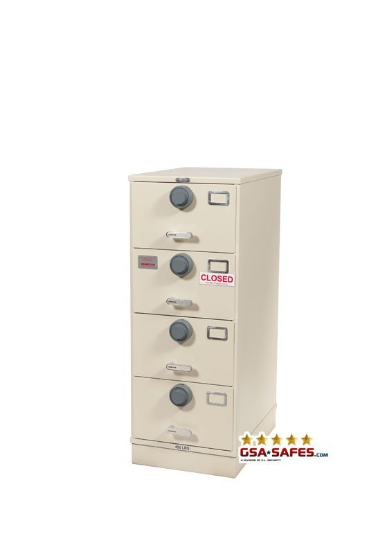7110-01-563-1683 Multi Lock GSA Approved Class 6, 4 Drawer Filing Cabinet, Legal Size w/ X10 Locks