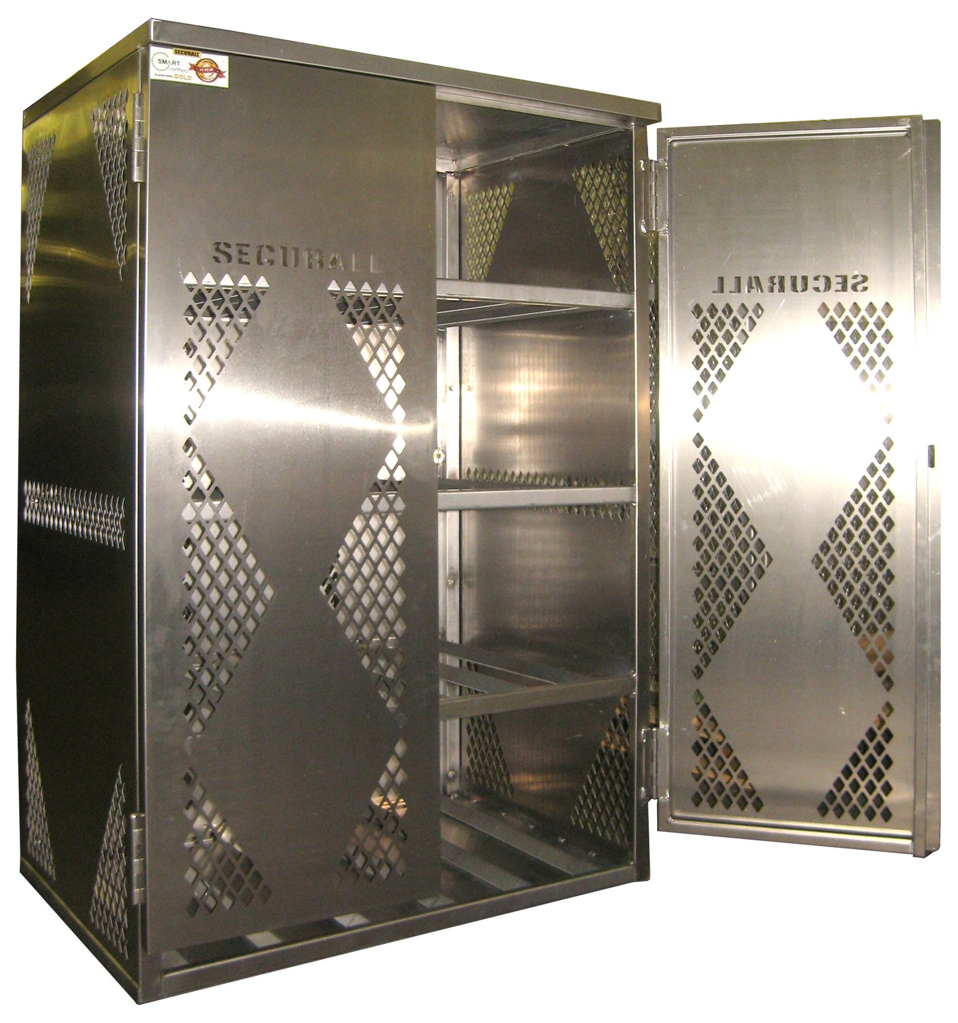 LP12-Steel - LP/Oxygen Storage Cabinet - 12 Cyl. Horizontal Standard 2-Door