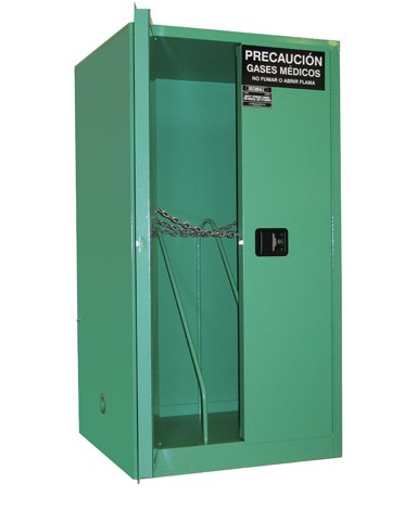 MG106H - MedGas Full Oxygen Gas Cylinder Storage Cabinet - Stores 6-9 H Cylinders