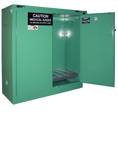 MG321FL - MedGas Full Fire Lined Oxygen Gas Cylinder Storage Cabinet - Stores 21-24 D, E Cylinders