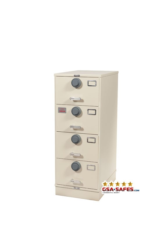 7110-01-614-5366 GSA Approved Class 6, 4 Drawer Filing Cabinet, Letter Size Multi-Lock w/ S&G 2740 Lock