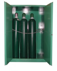 MG109HFL - MedGas Full Fire Lined Oxygen Gas Cylinder Storage Cabinet - Stores 9-12 H Cylinders