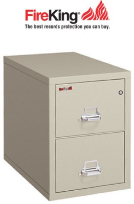 "FireKing 2-1825-C, 2 Drawer Letter Width, 25"" Deep Vertical File Cabinet"