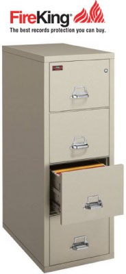 "FireKing 4-1825-C, 4 Drawer Letter Width Vertical File Cabinet, 25"" Depth"