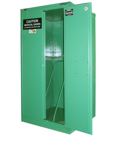MG309HFL - MedGas Full Fire Lined Oxygen Gas Cylinder Storage Cabinet - Stores 9-12 H Cylinders